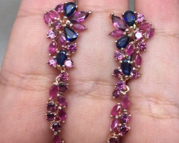 ( B8) Alluring Nat 24.0tcw. Sapphire Rhodolite Garnet & Ruby Earrings