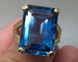 (B9) Stunning $2800 Nat. Designer 16.75ct Swiss Blue Topaz Ring 10K YG