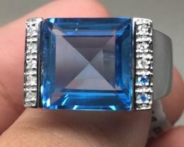 (B10) Exquisite $1900 Nat. 7.70ct  Blue Topaz & Diamond Ring 10K