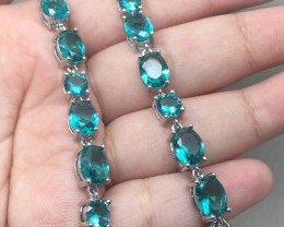 (B13) Magnificent 35.0tcw Blue Aquamarine Glass Bracelet
