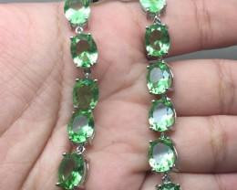 (B15) Brilliant Nat 38tcw.  Tsavorite Garnet Glass  Bracelet