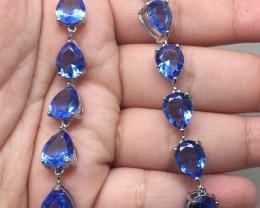 (B16) Magnificent Nat 38.0tcw.  London Blue Topaz Glass CZ Bracelet