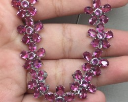 (B17) Luxury Nat 100tcw. Pink Raspberry Rhodolite Garnet Glass Wht CZ Neckl