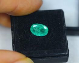 1.70Ct Zambia Green Emerald Oval Cut Lot LZ1321