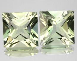 5.98 Cts Natural Green Prasiolite Amethyst 2 Pcs Princess Cut Brazil