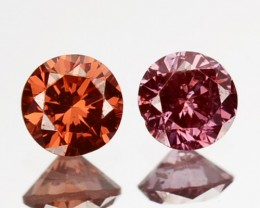 ~PAIR~ 0.17 Cts Natural Brownish Pink Diamond Round Africa