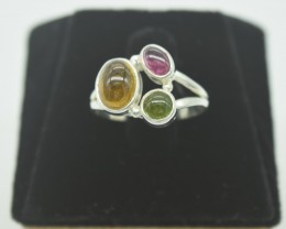 CERTIFIED NATURAL UNTREATED TOURMALINE  RING 925 STERLING SILVER JE1007