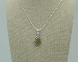 CERTIFIED NATURAL UNTREATED  TIGER EYE PENDANT 925 STERLING SILVER JE1008
