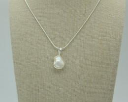 CERTIFIED NATURAL UNTREATED PEARL PENDANT 925 STERLING SILVER JE1011