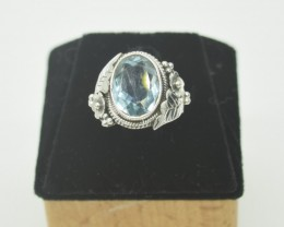 CERTIFIED NATURAL UNTREATED BLUE TOPAZ  RING 925 STERLING SILVER JE1013