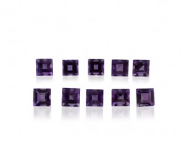 $1 No Reserve Auction - 17 Stones - 9.86 ct Amethyst 5x5mm Square