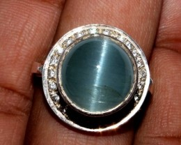 Natural Aquamarine Cat's Eye Silver Ring Size (9) 0023