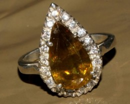 Natural Sphene Silver Ring Size (6 1/4) 0240