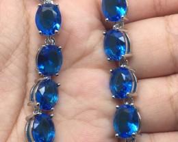 (B21) Brilliant 43tcw. Swiss Blue Topaz Glass Bracelet