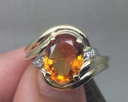 (B22) Cert. $1100 Nat. 3.16cts Azotic Topaz & Diamond  Ring 10k YG 4.03