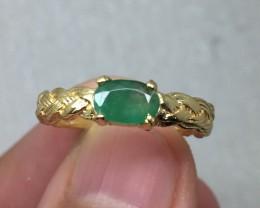 (B23) Brilliant $950 Cert. Nat 0.67ct Green Emerald Ring 10K YG 2.25gr