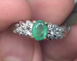 (B24) Brilliant $1100 Cert. Nat 0.60ct  Emerald Ring 10K YG 1.96gr