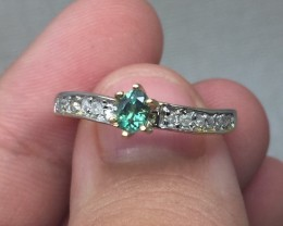 (A1) Cert. $1400 Nat 0.37cts. Alexandrite & Diamond Ring 14K YG 2.0