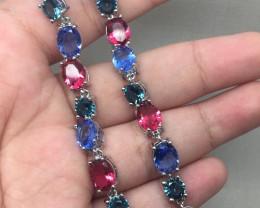 (A4) Stunning  46tcw. Rhodolite Garnet Tanzanite Blue Topaz Glass Bracel