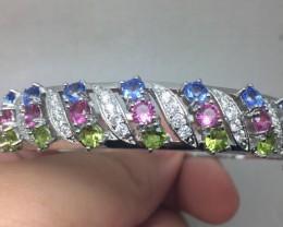 ( B) Brilliant 165tcw. Tourmaline Peridot & Tanzanite Glass  Bangle