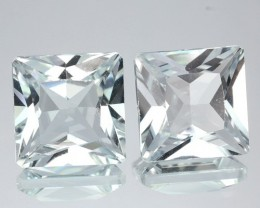 ~PAIR~ 6.06 Cts Natural Sparkling White Topaz 8.0 mm Princess Cut Brazil