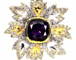 """Snow Queen' Huge Amethyst Tanzanite .925 Sterling Gold Ring 108.00cts"