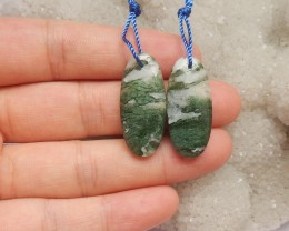 26ct Natural moss agate earring beads customized jewelry  (18091405)