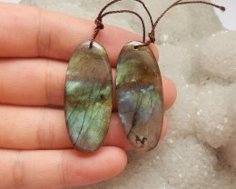 52.5ct Natural labradorite earring beads customized jewelry  (18091336)