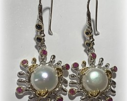 Opulent Pearl Ruby Sapphire Sterling Silver .925 Earrings