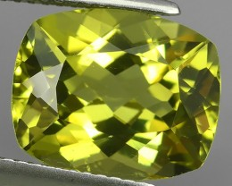 5.95 CTS MAJESTIC RARE NATURAL CUSHION RARE GREENISH YELLOW COLOUR-TOURMALI