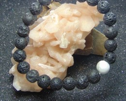 Beautiful  Lava beads cabs Bracelet  83.25 cts