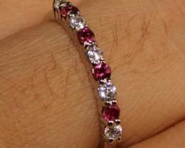 Natural Garnet Silver Ring Size (6.5) 0225