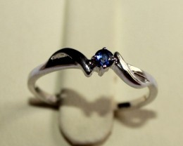 Natural Blue Sapphire Silver Ring Size (5.5) 0226