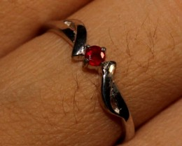Natural Ruby Silver Ring Size (5.5) 0233