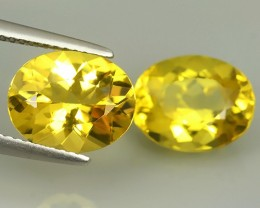 6.10 CTS MARVELOUS LUSTER YELLOW NATURAL HELIODOR BERYL OVAL 2 PCS