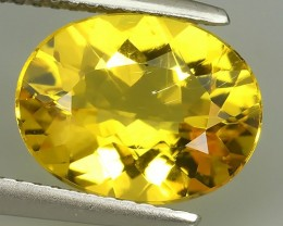 3.10 CTS AMAZING TOP FIRE UNHEATED NATURAL YELLOW BERYL OVAL CUT LOOSE GEM