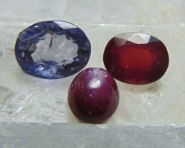 Mix colors stones ~ red ruby composite ,iolite,~ indian star ruby   7.75cts