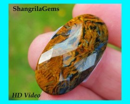 30mm 18ct Pietersite cabochon facetted oval 30 by 15 by 4.5mm from Namibia