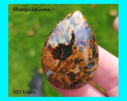 40mm 41ct Pietersite pear drop cabochon  AAA 41 by 28 by 5mm