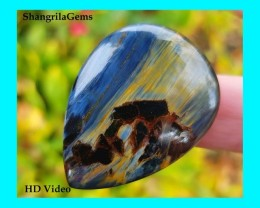37mm 33ct Pietersite pear drop cabochon AAA 37 by 28 by 4mm