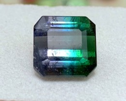 5.35 cts Blue/Green Tricolor Tourmaline - Stunning Color Combination!