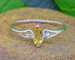 N/R Natural Citrine 925 Sterling Silver Ring #9 (SSR0446)