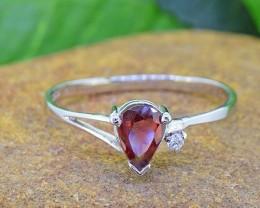 N/R Natural Garnet 925 Sterling Silver Ring (SSR0448)