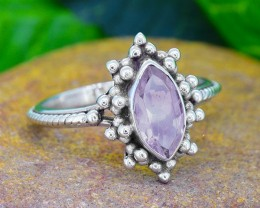 N/R Natural Amethyst 925 Sterling Silver Ring (SSR0107)
