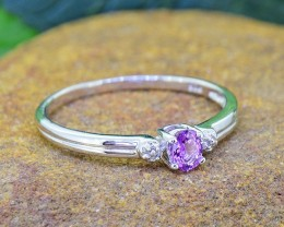 N/R Natural Purple SAPPHIRE 925 Sterling Silver Ring (SSR0443)