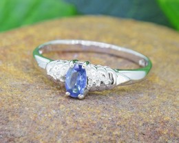 N/R Natural Blue Sapphire 925 Sterling Silver Ring(SSR0447)