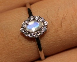 Natural Rainbow Moonstone Silver Ring Size (5.5) 0236