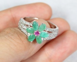 23.05cts Green Emerald Sterling 925 Silver Ring US 8.75