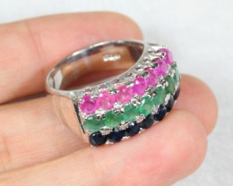 43.6cts Ruby Emerald Sapphire Sterling 925 Silver Ring US 8