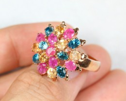 38.83cts Multiple Gemstone Sterling 925 Silver Ring US 7